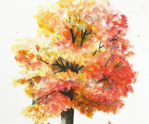art, tree, and watercolors image