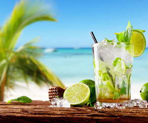 cocktail, beach, and summer image