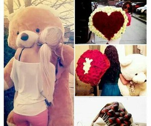 love, flowers, and bear image