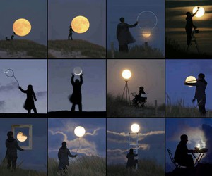 art, night, and full moon image