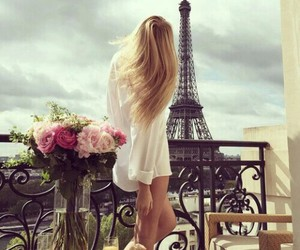 paris, girl, and flowers image