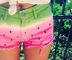 watermelon, summer, and shorts image