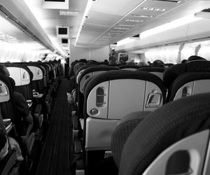 airplane, black, and black and white image