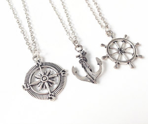 compass, anchor necklace, and compass necklace image