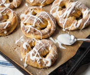 pretzel, bread, and cream cheese image
