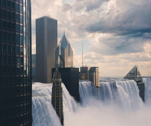 city, waterfall, and water image