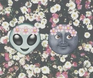 alien, flowers, and moon image
