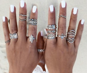 nails, rings, and summer image