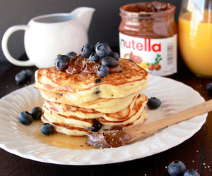 food, pancakes, and nutella image