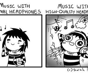music, headphones, and comic image