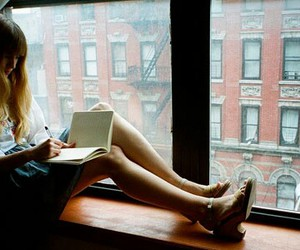 book, girl, and city image