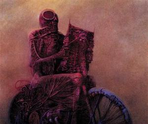 moto, road, and Zdzislaw Beksinski image