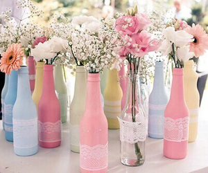 flowers, bottle, and pastel image