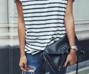 beautiful, jeans, and stripes image