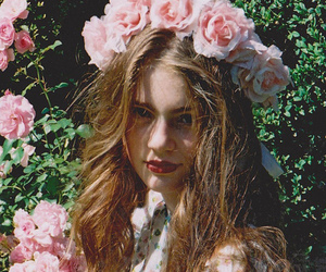 flower girl, flower crown, and roses image
