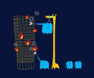 elephant, fire, and buildings image