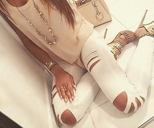 beige, golden, and heels image