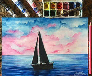 art, paint, and sailboat image