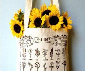flowers, bag, and plants image