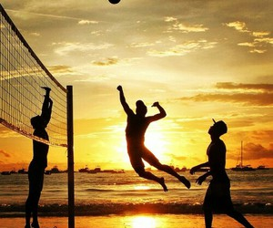 beach, sea, and volleyball image