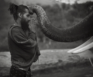 elephant, man, and black and white image