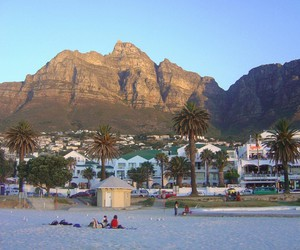 beach, cape town, and mountains image