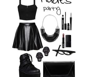 black, earrings, and fandom image