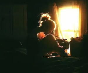 bed, girl, and light image