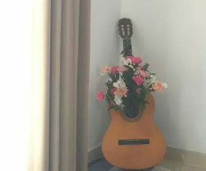 flowers, guitar, and melody image