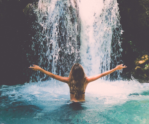 girl, summer, and waterfall image