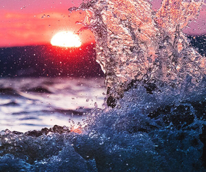 sunset, waves, and water image