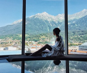 girl, mountains, and view image