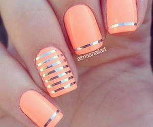nails, orange, and nail art image