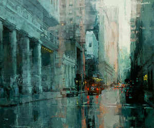 city, painting, and art image