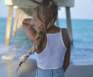 beach, blond, and blond hair image