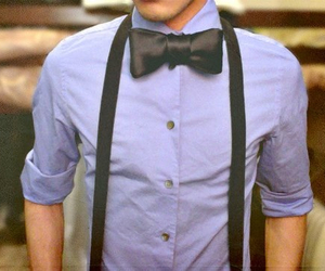 boy, bow tie, and suspenders image
