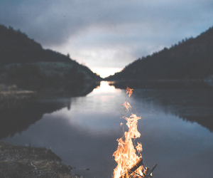 fire, nature, and lake image