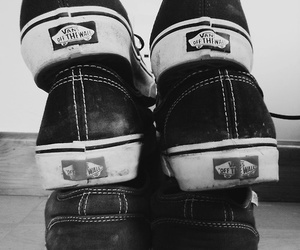 vans, shoes, and black and white image
