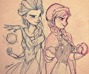 anna, elsa, and draw image