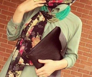 floral, hijab, and outfit image