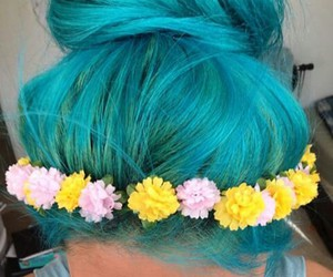 blue, hair, and flowers image