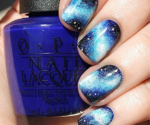 galaxy, nails, and blue image