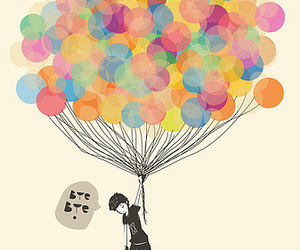 balloons, boy, and bye image