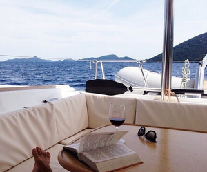 summer, book, and ocean image