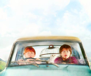harry potter, car, and ron weasley image