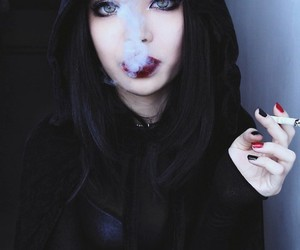 girl, smoke, and black image