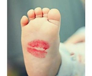 baby, kiss, and feet image