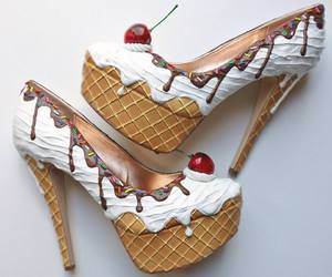 shoes, ice cream, and heels image