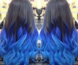 hair, ombre, and blue image