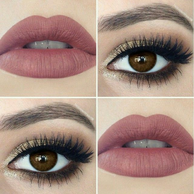Neutral Eye Makeup Paired With A Matte Rose Lipstick